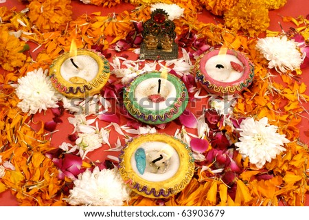 beautiful traditional decoration for prayer on the occasion of Diwali festival  in India.