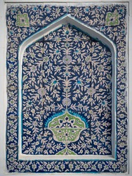Beautiful traditional floral motif on blue and white ceramic tiles on wall of Makhdum Nuh tomb in Hala, Sindh, Pakistan