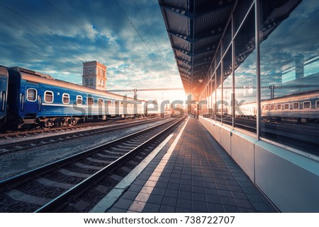 beautiful train with blue...