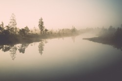Beautiful tranquil landscape of misty swamp lake with mist and boardwalks - retro, vintage style look
