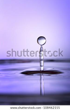 Beautiful tranquil purple water drop and splash