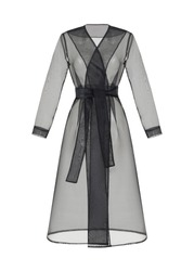 Beautiful transparent black organza trench coat with long sleeves and a belt at the waist, isolated on white background, clipping, ghost mannequin