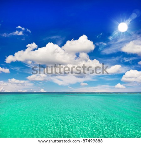 beautiful travel and holidays background. sea, sky and sun