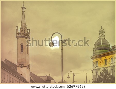Beautiful travel photo of historical buildings in Vienna city center, Austria. Modern painting style texture. Travel illustration.