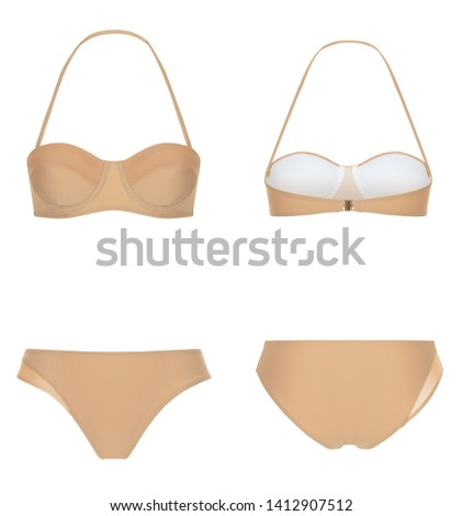 Beautiful trendy bikini, beige swimsuit, ghost mannequin, clipping, isolated on white, front and back view #1412907512
