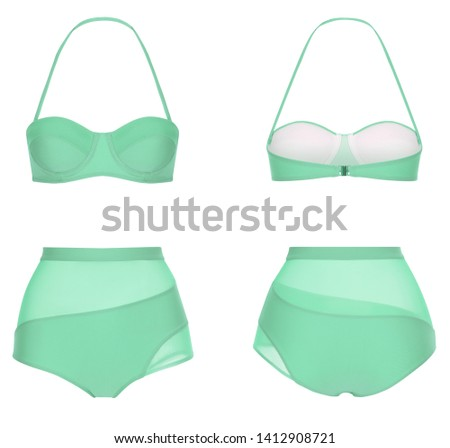 Beautiful trendy bikini, turquoise swimsuit, ghost mannequin, clipping, isolated on white, front and back view #1412908721