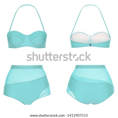 Beautiful trendy bright bikini, blue swimsuit, ghost mannequin, clipping, isolated on white, front and back view #1412907515