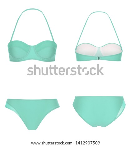 Beautiful trendy bright bikini, turquoise swimsuit, ghost mannequin, clipping, isolated on white, front and back view #1412907509