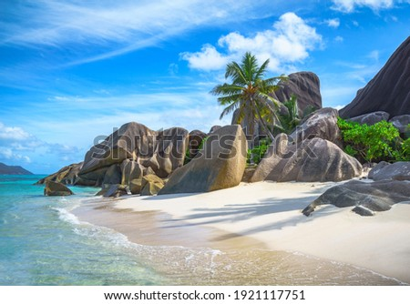 beautiful tropical beach at anse source d'argent on la digue on the seychelles Stock photo ©