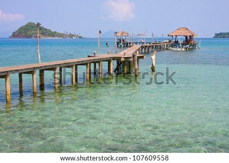 Beautiful tropical beach in island Koh Mak , Thailand - stock photo