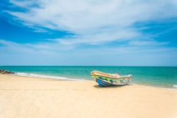 Beautiful Tropical Beach In Kalpitiya, Sri Lanka. These boats used to take people to watch dolphins