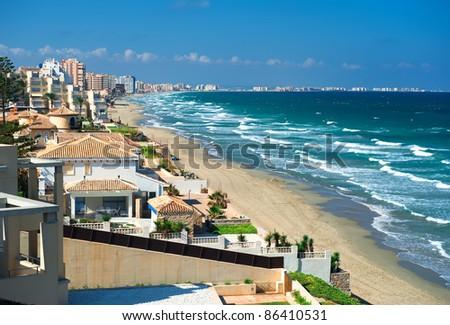 Beautiful tropical beach, La Manga seaside, Spain