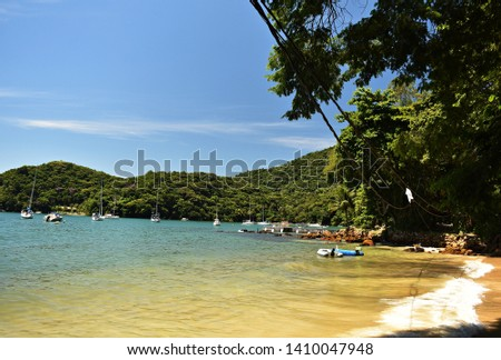 Beautiful tropical beach on the Ilha Grande. Ilha Grande is an island located off the coast of Rio de Janeiro state, Brazil.