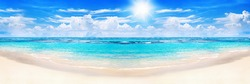 Beautiful tropical beach panoramic view, turquoise sea water, ocean waves, yellow sand, sun in blue sky, white clouds, hot summer holidays, exotic island vacation, Caribbean travel, Maldives landscape