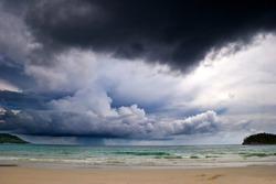 Beautiful tropical beach under gloomy sky. Thailand