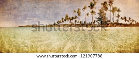 Beautiful tropical beach with  sea view, clean water & blue sky in retro style . Nature background