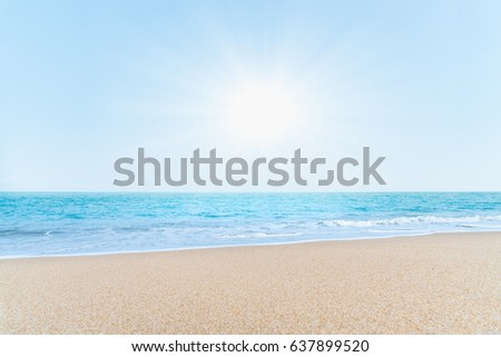 Beautiful tropical beach with sunny for background. #637899520