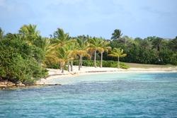 Beautiful tropical beach with turquiose sea & white sand on Green Island, Antigua, Caribbean.