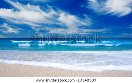 Beautiful Tropical Beach with white water