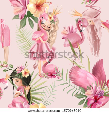 Beautiful tropical exotic floral seamless, tileable, watercolor pattern, background with pink flamingo birds and princess girls