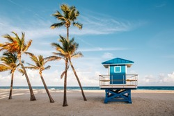 Beautiful tropical Florida landscape with palm trees and blue lifeguard house. Typical American beach ocean scenic view with lifeguard tower and exotic plants. Summer seasonal wallpaper background.