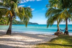 Beautiful tropical island beach, summer nature scene beach, blue sky and palm trees - Koh Kood, Trat Thailand