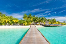 Beautiful tropical landscape background, luxury summer travel and vacation. Wooden pier into island  against blue sky with white clouds, panoramic view. Maldives islands jetty with palm trees nature