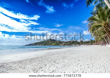Beautiful tropical landscape, Island in the Gulf of Thailand, Thailand. Turquoise water, white sand and blue sky