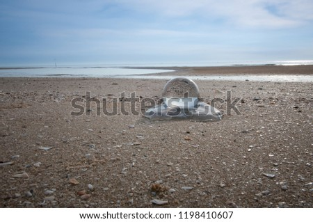 Beautiful Tropical Landscape seen through a Glass Orb. Glass orb by the sea and beach with waves crashing on shore. #1198410607