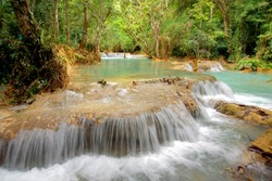 beautiful tropical landscape with cascades and streaming waterfalls