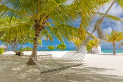 Beautiful tropical Maldives beach under cloudy sky with swings on coconut palm. Luxury vacation concept, romantic honeymoon and getaway banner. Coconut tree, blue sky, white sand landscape, seascape