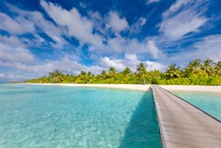 Beautiful tropical Maldives island with beach, exotic sea and coconut palm trees on blue sky for luxury nature holiday vacation background concept. Boost up color processing. Summer travel destination