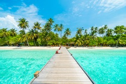Beautiful tropical Maldives island with beach , sea , and coconut palm tree on blue sky for nature holiday vacation background concept -Boost up color Processing
