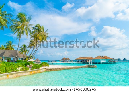 Beautiful tropical Maldives resort hotel and island with beach and sea - holiday vacation background concep #1456830245