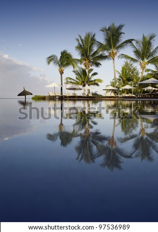 Beautiful tropical morning in luxury resort in Mauritius