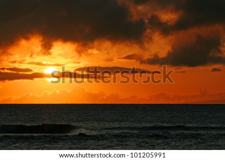 Beautiful Tropical Ocean Sunset Maui Hawaii Island