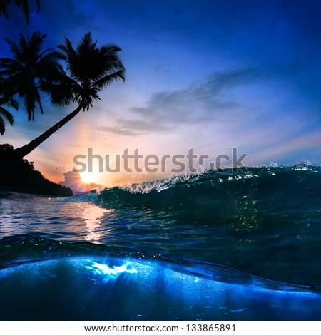 Beautiful Tropical Palm Beach With Yellow Sand Breaking Splashing Shorebreak Under Sunset