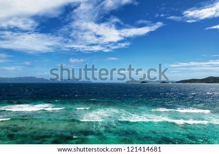 Beautiful tropical sea and blue sky.