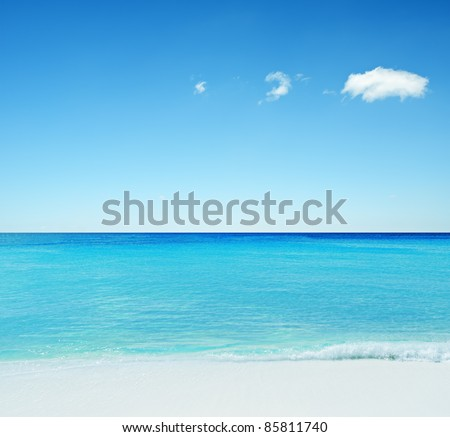 Beautiful tropical seascape. Sky and sea.