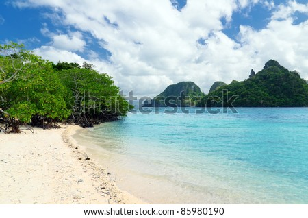 Beautiful tropical seascape. Sky and sea.