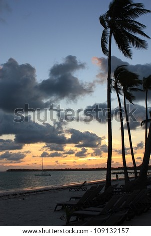 Beautiful tropical sunset over the sea - stock photo