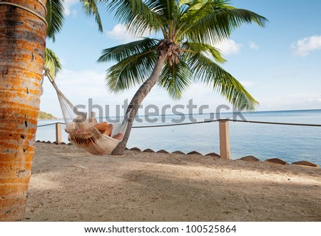 Beautiful tropical vacation in the warm sunny Seychelle island oceans and palm trees