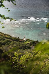 Beautiful tropical views of the reef and Diamond Head Lighthouse from the Diamond Head Crater Hike, Hawaii.