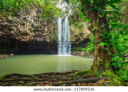 Beautiful Tropical Waterfall in Hawaii