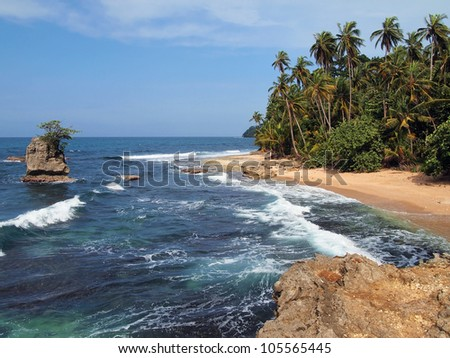 Beautiful tropical wild beach with an rocky islet and lush vegetation