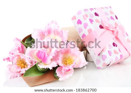 Beautiful tulips and gift box, isolated on white #183862700