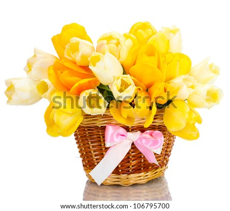 beautiful tulips in basket isolated on white