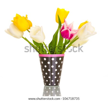 Beautiful tulips in vase isolated on white