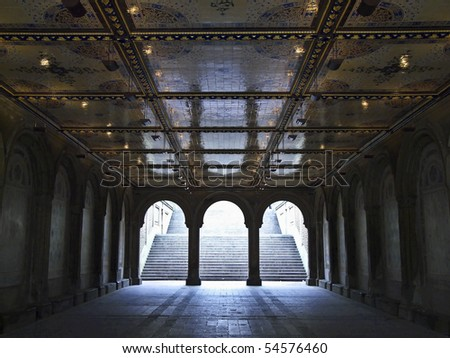 beautiful tunnel to the lower level of Bethesda Terrace in Central Park, NYC