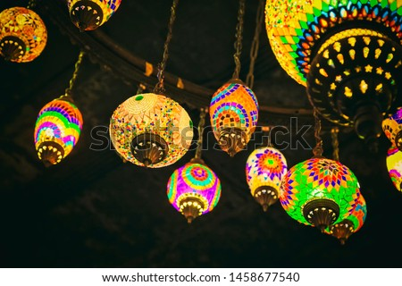 Beautiful Turkish style or Ottoman style or Moroccan Style Colorful Glass Mosaic Lamps.